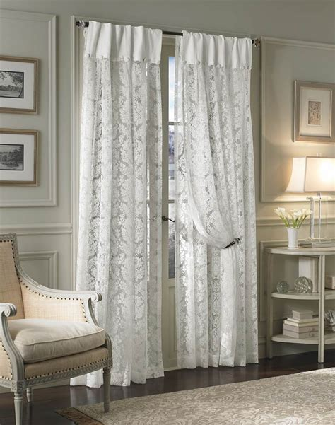 traditional damask lace inverted pleat curtain panel