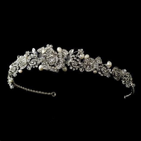 Wedding Tiaras by Antique Silver Clear Rhinestone Freshwater Pearl