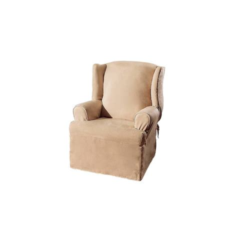 slipcovers for wing chairs suede slipcover wing chair sure fit ebay
