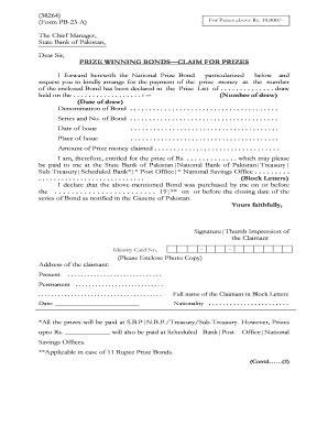 bond claim form prize bond prize money claim form fill online printable