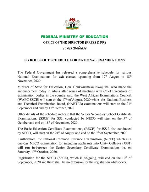Fg Fixes Neco Examinations For October 5 And National