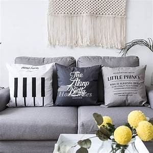 White Decorative Pillows Canvas Square Gray Couch Bed
