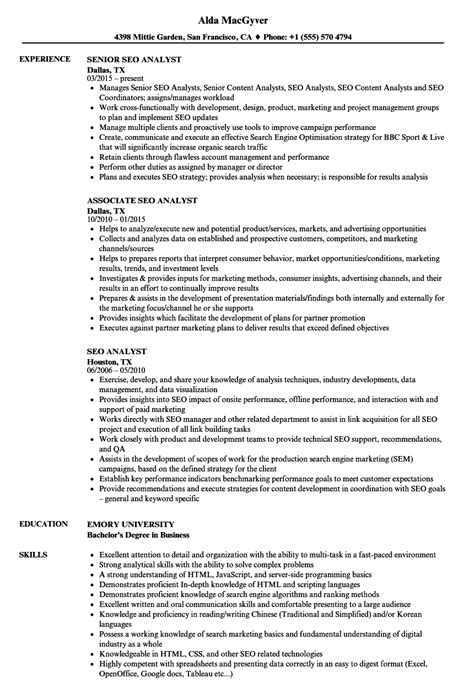 seo analyst resume samples velvet jobs