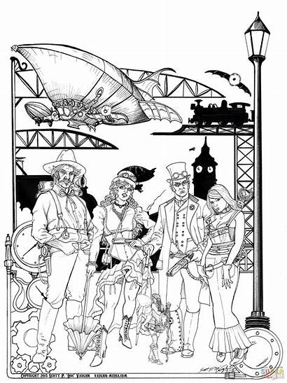 Steampunk Coloring Pages Behind Simple Characters Dirigible