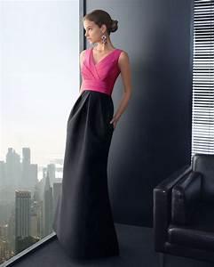 Pink and Black Long Bridesmaid Dress | OneWed.com