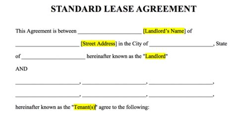 Free Rental Lease Agreement Templates