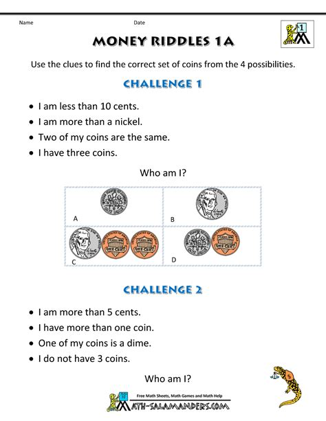 riddles worksheets for 1st grade math money worksheets 1st grade money riddles