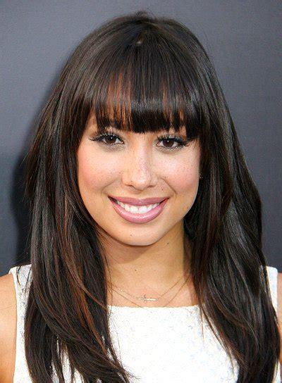 long brunette hairstyles  bangs beauty riot