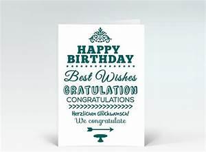 Grün Auf Englisch : geburtstagskarte happy birthday typografisch in gr n oval designer ~ Orissabook.com Haus und Dekorationen