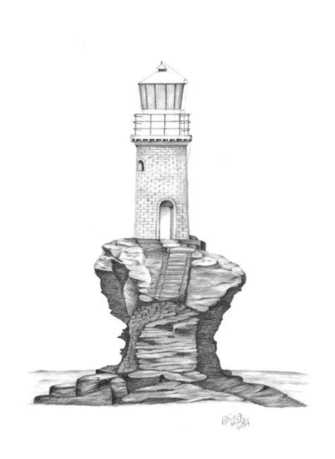stunning lighthouses colored pencil drawings  illustrations  sale  fine art prints