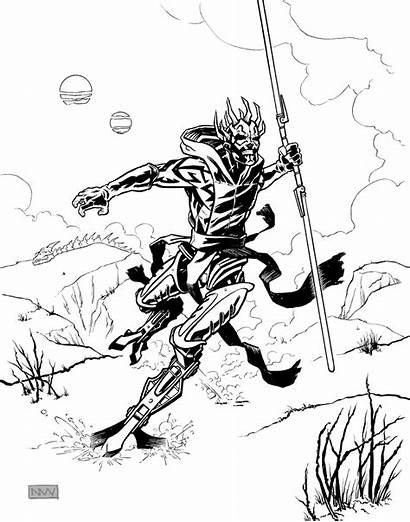 Darth Maul Coloring Pages Wars Star Cyborg