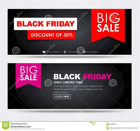 banners black friday sale stock vector image 62266364