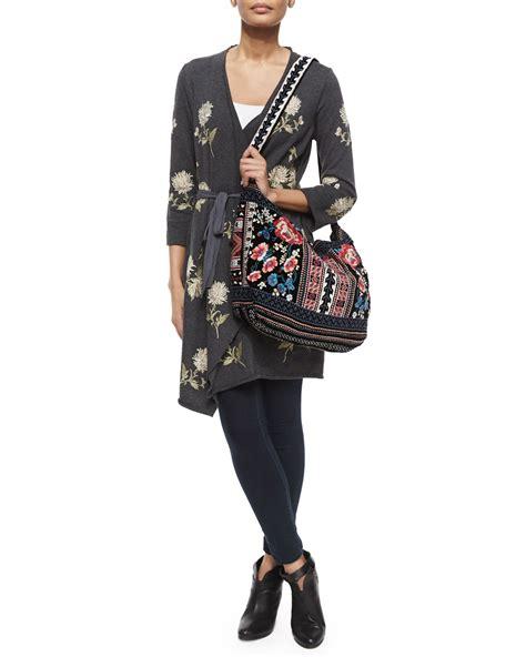 johnny  izzy embroidered velvet tote bag  black lyst