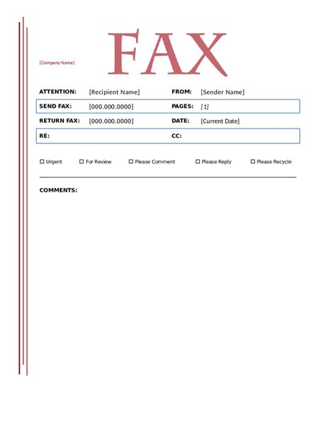 fax cover sheet template fillable printable
