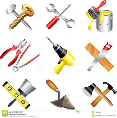 construction tools clipart construction tools icons detailed set stock vector