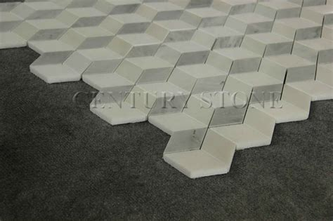 3d Mosaic Design Irregular Diamond Shaped White Marble