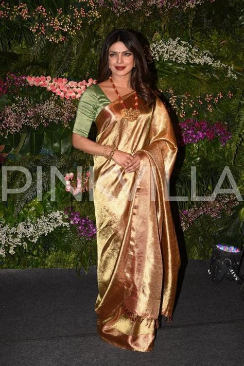 priyanka chopra  stunning   golden saree