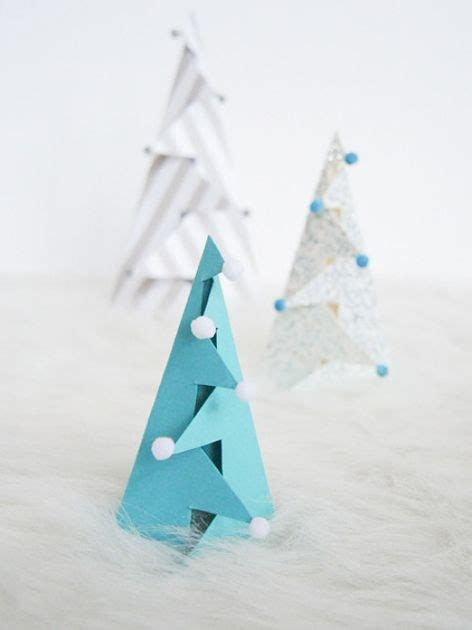 standing folded paper christmas trees curbly