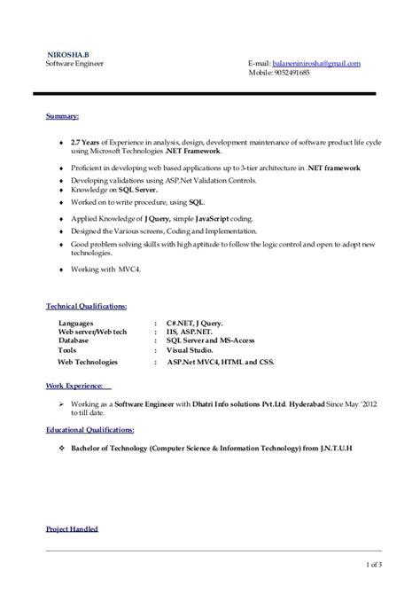 Asp Mvc 4 Resume by Nirosha Dotnet Cv 2 Copy Mvc