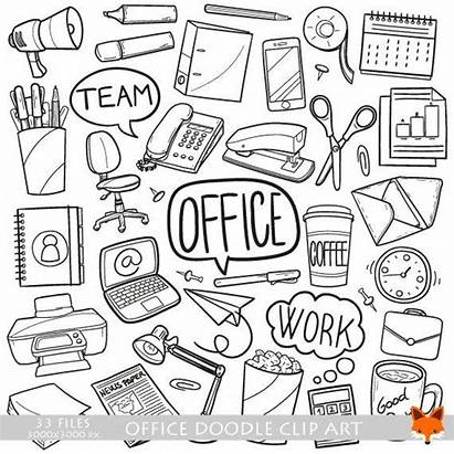 Doodle Office Items Objects Clipart Icons Scrapbook