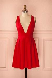 deep v neck party dressred evening dresshomecoming dress With robe de bal rouge