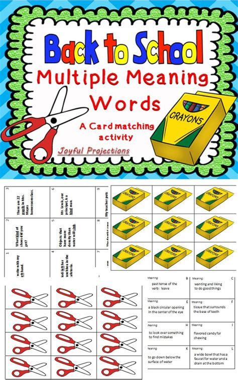 back to school meaning words card matching