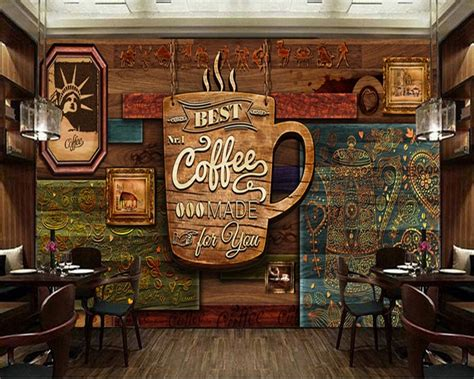 Custom Food Store Wallpaper,wood Pattern Coffee,3d Retro One Touch Automatic Coffee Machine Z6 Fully Dunkin Donuts Frozen Recipe Main Types Of Beans Iced By The Case Myer Semi Kmart Jura A9