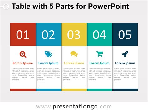 powerpoint table template 5 part table diagram for powerpoint presentationgo