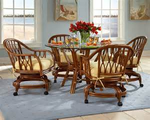 lattice dining set with 4 caster swivel and tilt chairs tickle imports american wicker