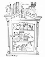 Cupboard Apothecary Moon Midsummer Coloring Printable Instant sketch template