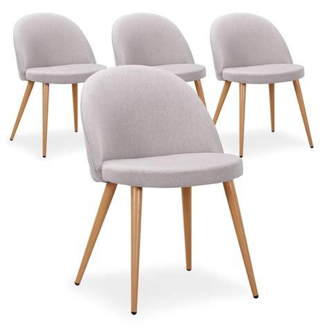 chaise scandinave tissu gris lot de 4 pas cher scandinave deco