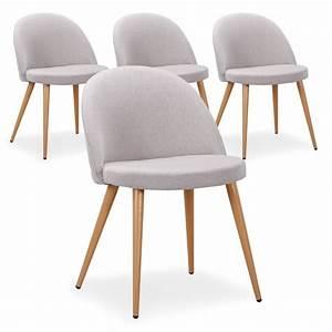 Lot 4 Chaises Scandinaves : chaise scandinave tissu gris lot de 4 pas cher scandinave deco ~ Teatrodelosmanantiales.com Idées de Décoration