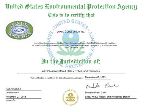 epa certified general contractor luxus construction