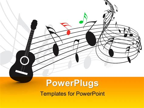 powerpoint template guitar   notes  symbols
