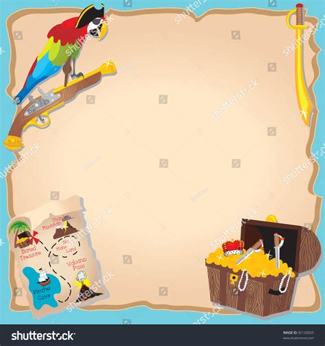 pirate birthday party treasure hunt invitation stock