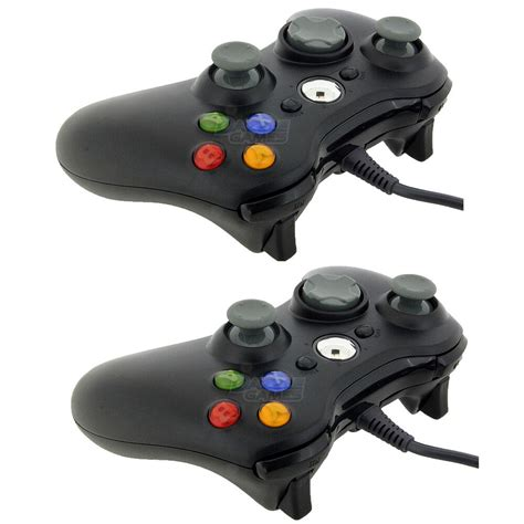 2x New Black Wired Usb Game Pad Controller For Microsoft