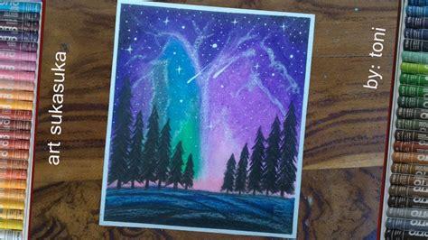 cara menggambar pemandangan dan mewarnai langit malam
