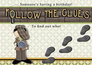 Kids Theme Party's: Lil' Detective Birthday Invitation ...