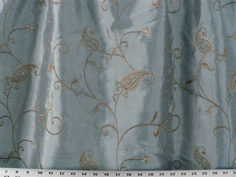 Drapery Upholstery Fabric Embroidered Faux Dupioni Silk