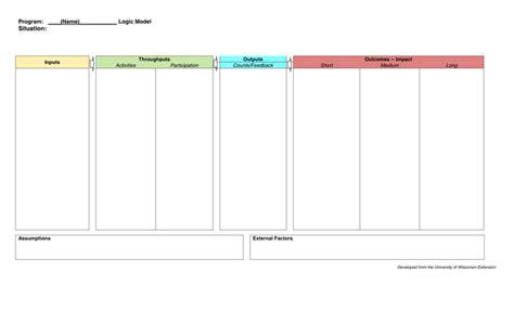 logic model worksheet  word   formats
