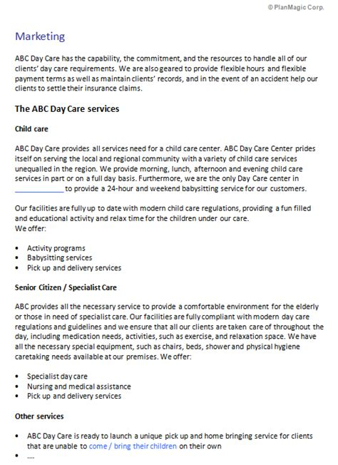 day care center business plan template  child car
