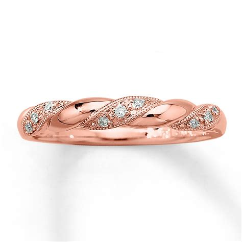 inexpensive  diamond wedding ring band  rose gold