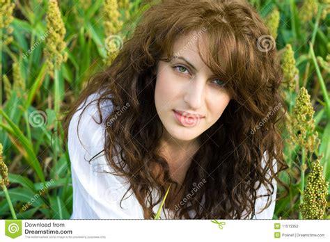 outdoor portrait  beautiful woman   field stock