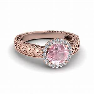 antique vintage halo morganite engagement ring in 18k rose With rose colored wedding rings