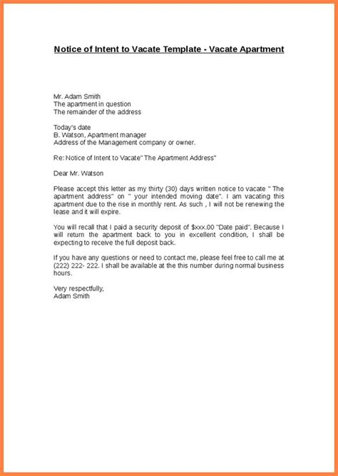sle letter  landlord vacate apartment resume template