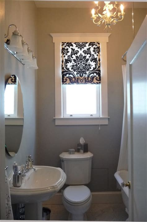 Black And White Roman Shade In The Bathroom Traditional