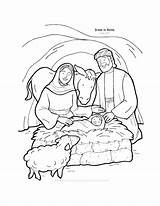 Jesus Coloring Born Pages Bible Stories Popular sketch template