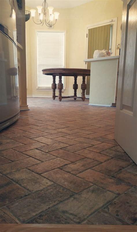 Southwestern Kitchen in Greenville   brick tile floor
