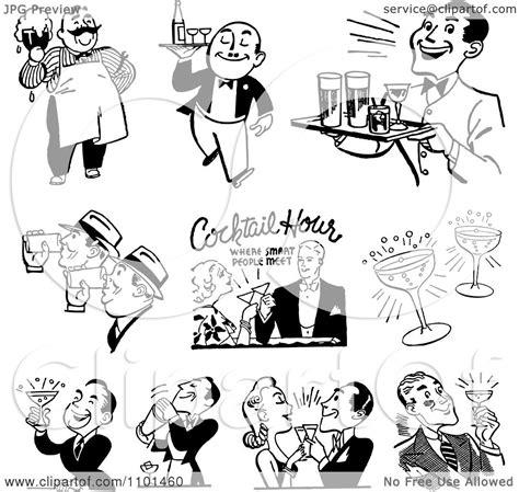 clipart retro black  white cocktail hour scenes