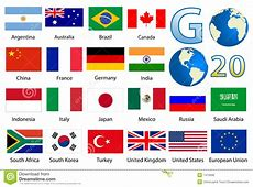 32 Industrialized Country Flags Royalty Free Stock Photos
